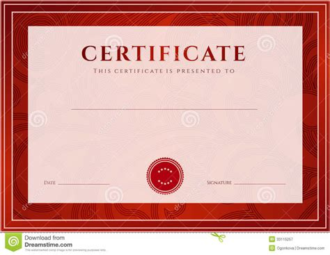 Certificate Design Red | red border certificates designs blank certificates