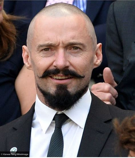 celebrities having moustaches with bald head hugh jackman at wimbledon today sporting a killer stache