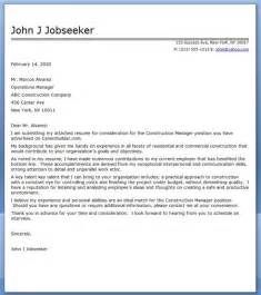 construction manager cover letter sle