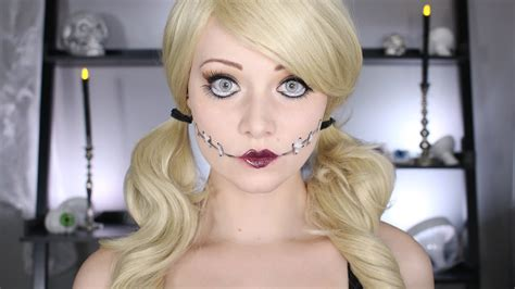 tutorial makeup halloween doll halloween doll makeup tutorial no body paint needed