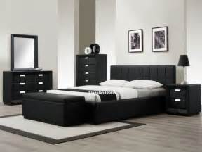 black leather bedroom set