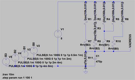 ltspice resistor tolerance simulation adc 4 bit address selection via analog input pin