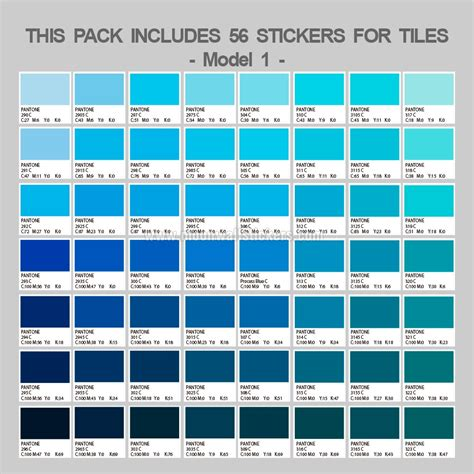 Urban Home Decor Pantones Blue Tiles Stickers Pack Of 56
