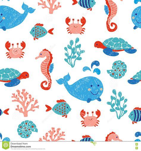 cute ocean pattern cute sea animals seamless pattern stock vector image