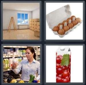 hot stuff 4 letters 4 pics 1 word answer for empty eggs milk juice heavy