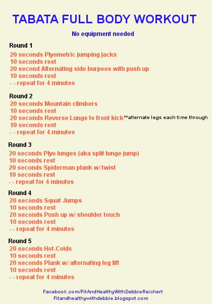 tabata workout no equipment fit and healthy