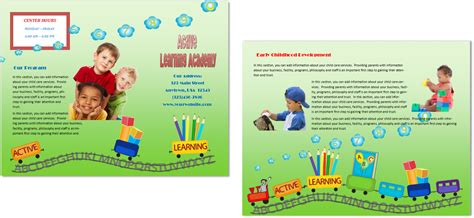 child care brochure templates child care brochure template 16 child care owner