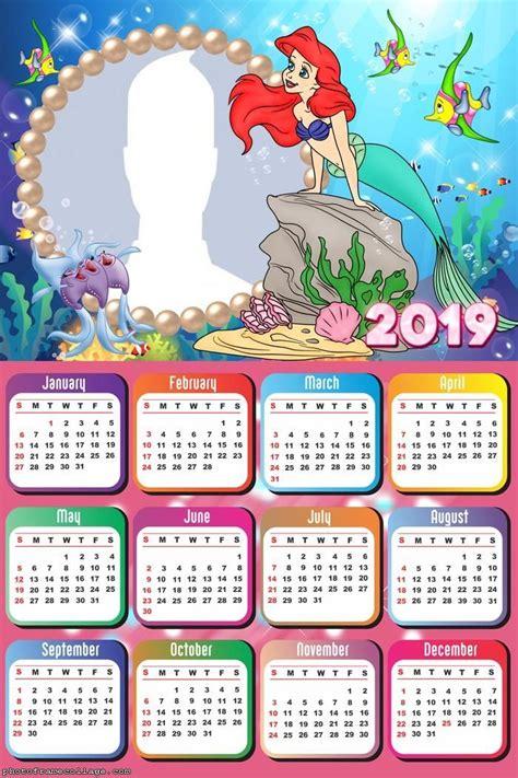 ariel  mermaid calendar  frame photo montage calendario  calendario fotos
