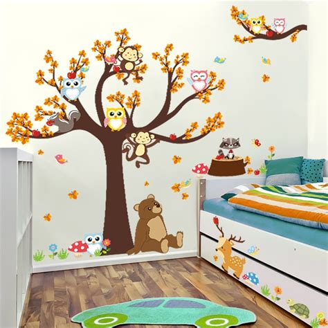 decoracion habitacion bebe vinilos #1: Cartoon-Forest-Tree-Branch-Animal-Owl-Monkey-Bear-Deer-Wall-Stickers-For-Kids-Rooms-Boys-Girls.jpg