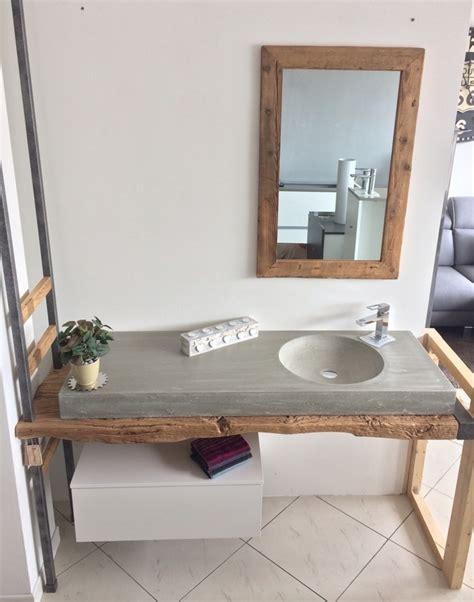 lavello cemento bagno sospeso nature design top legno e lavello in