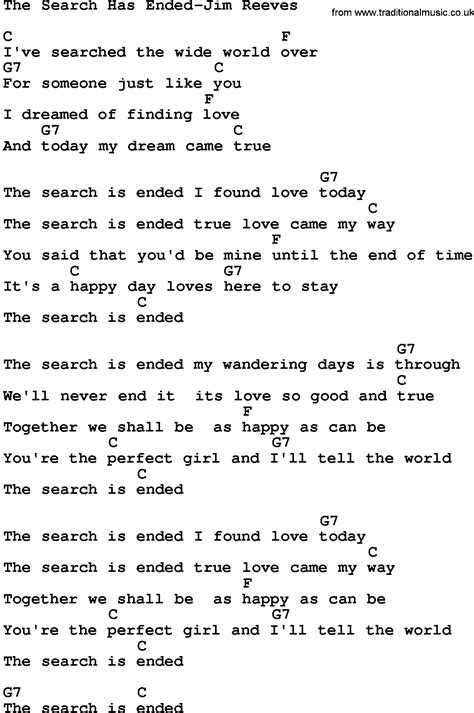 Lyrics Lookup Country The Search Has Ended Jim Reeves Lyrics And Chords