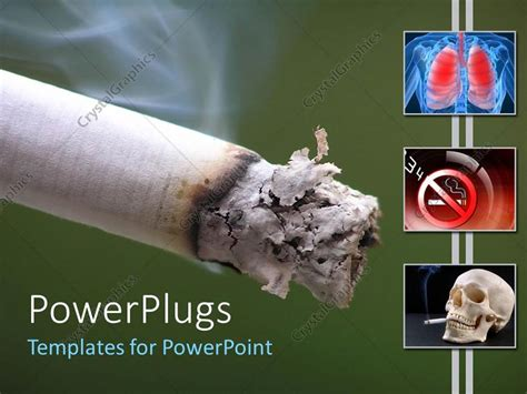 Powerpoint Template Cigaret Harm On Lungs Skull Smoking Green Background 7310 Cessation Powerpoint Template