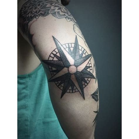 rose tattoo elbow compass designs with meaning nautical compass
