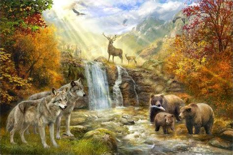 Animal Wall Murals jan patrik krasny die waldtiere am wasserfall poster