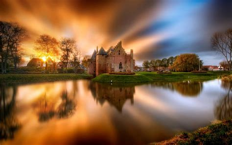 castle lake sunset netherlands hd wallpaper wallpaperscom