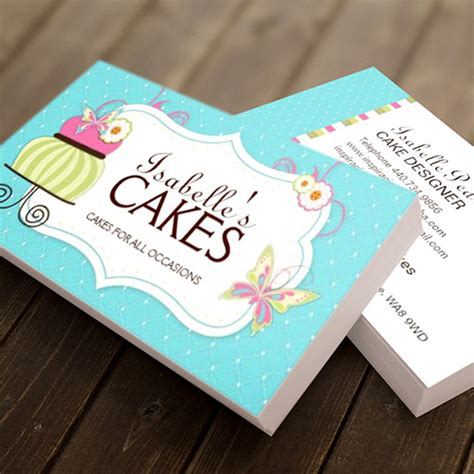 cake business cards templates whimsical bakery business card