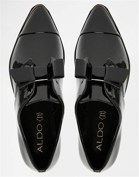 aldo shoes flats aldo gazoldo black patent flat shoes in black lyst