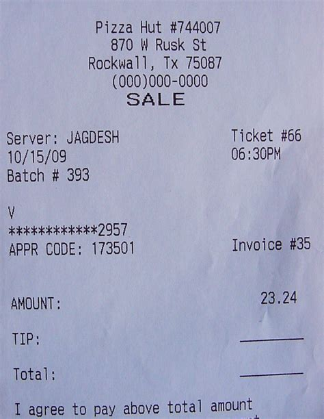 pizza receipt template pizza hut receipt by patchwork steve on deviantart