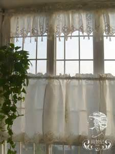 Lace Cafe Curtains Kitchen Set Of Country Lace Crochet Cafe Kitchen Curtain With Valance 013 Ebay