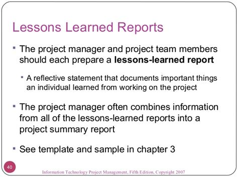 lessons learned report sle 09 project communications management