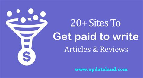 Get Paid Online - 20 sites to get paid to write articles and reviews online updateland
