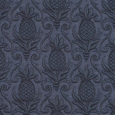 blue pineapple jacquard woven upholstery grade fabric by