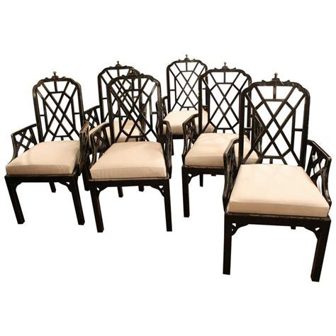 Dining Arm Chairs For Sale Set Of Six Or 10 Chippendale Dining Arm Chairs Pagoda Hollwood Regency For Sale At 1stdibs