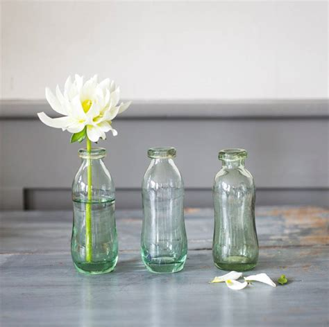 Glass Bottle Vases by Set Of Three Recycled Glass Bottle Vases By All Things