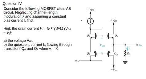 fet transistor questions and answers question iv consider the following mosfet class ae chegg