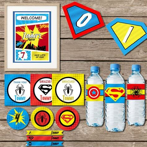 printable superhero party decorations superhero party printable party pdf digital file diy