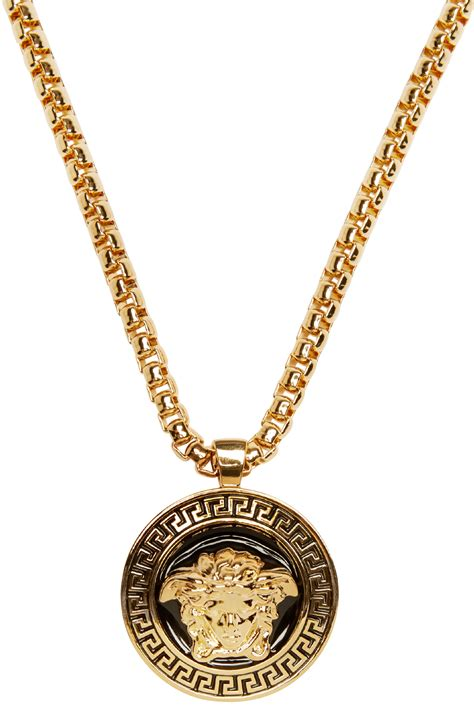 versace gold black medusa chain necklace in metallic lyst