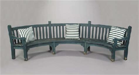 semi circular garden bench a green painted teakwood semi circular garden bench