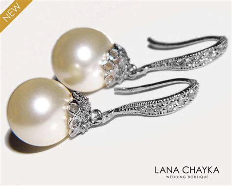 Perlen Tropfen Ohrring Hochzeits Imagenes by Braut Ohrringe Perle Tropfen Hochzeit Ohrringe Swarovski 10mm
