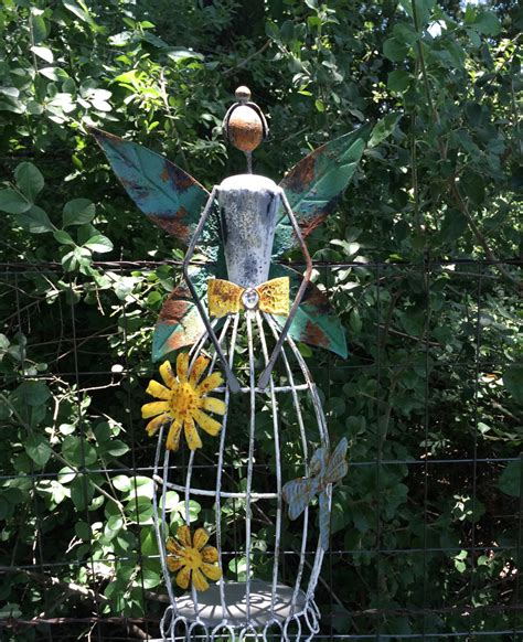 garden angel metal yard art rustic shabby chic garden decor
