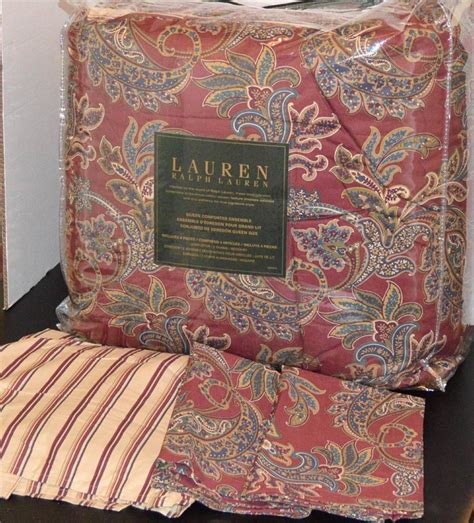 ralph lauren paisley comforter set ralph lauren rustic red paisley queen comforter set new