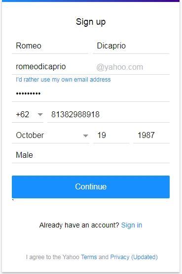 cara membuat acount yahoo baru cara membuat email baru daftar akun gmail yahoo dan hotmail