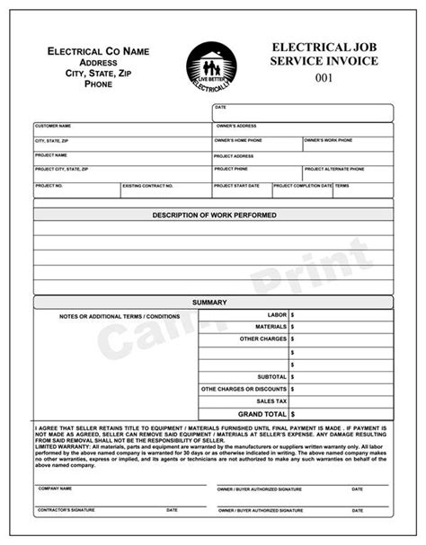 electrical service invoice electrical work order invoice 2 part carbonless ebay