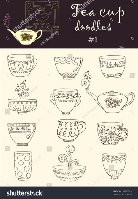 doodle series vector set doodle tea cup series stock vector 190936985