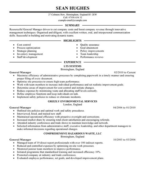 general resume exles general manager resume exle management sle resumes
