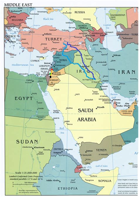 middle east map water south west asian