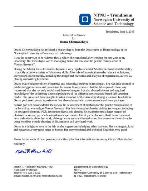 Letter Of Recommendation For Master Degree Scholarship Reference Letter Associate Professor