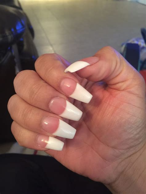 french tips w white and medium pink coffin shaped 50