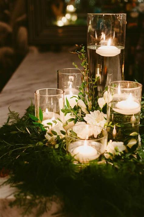 Floral Wreath Wedding Centerpieces With Floating Candles Candle And Flower Centerpieces