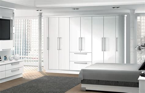Bedroom Fitted Wardrobe Doors by Row Of Length High Gloss White Storage Cupboards