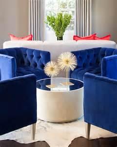 Royal blue chairs contemporary living room martha o hara interiors