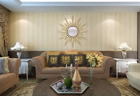 striped wallpaper living room yellow vertical stripe wallpaper in the mediterranean living room new home