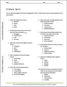 french history and geography quiz student handouts