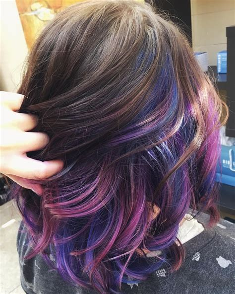hairstyles with highlights underneath we gave megan s underlights fresh galaxy vibes color by