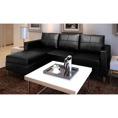 3 Seater L Shaped Artificial Leather Sectional Sofa Black L Shaped Leather Sectional Sofa