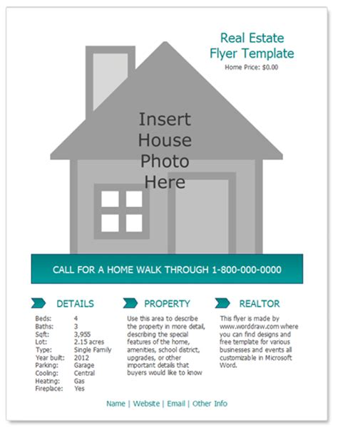 real estate free flyer templates worddraw free real estate flyer template for